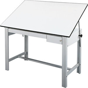 "Alvin DesignMaster Table - Gray Base with 37.5"" x 60"" White Top - 2 Drawers - DM60CT"