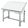 "Alvin DesignMaster Table - Gray Base with 37.5"" x 60"" White Top - 2 Drawers - DM60CT ES38"