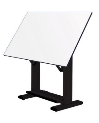 "Alvin ET72-3 - 37.5"" x 72"" Elite Table - Black Base, White Top ES7242"