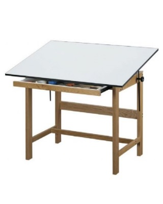 Alvin WTB42 - 31 x 42 x 37 Titan Solid Oak Drafting Table - Natural Finish with Drawer ES7246