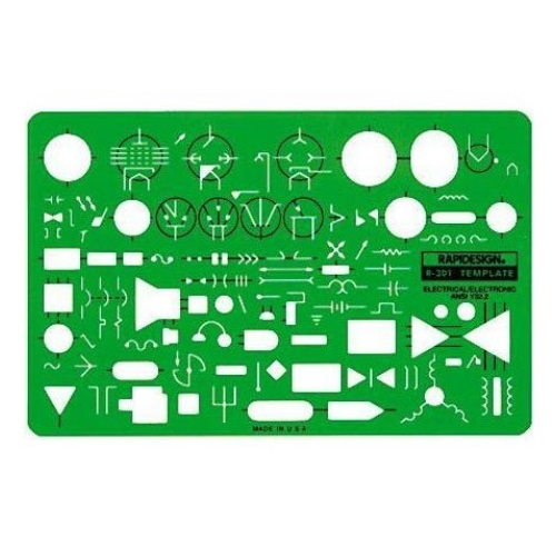 Alvin 301R - Rapidesign Electric/Electronic Symbols Template ES7740