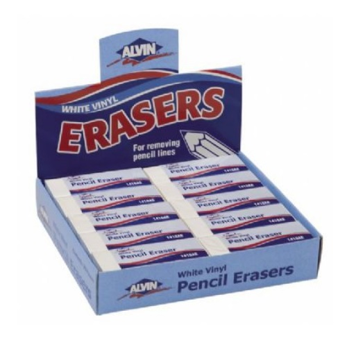 Alvin 1410AE - White Vinyl Pencil Erasers (Box of 20)