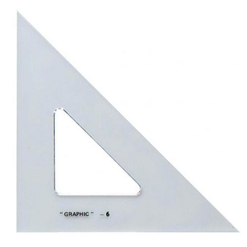 "Alvin S1450-6 - 6"" Academic Transparent Triangle - 45/90 Degree"