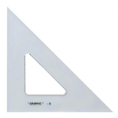 "Alvin S1450-8 - 8"" Academic Transparent Triangle - 45/90 Degree"