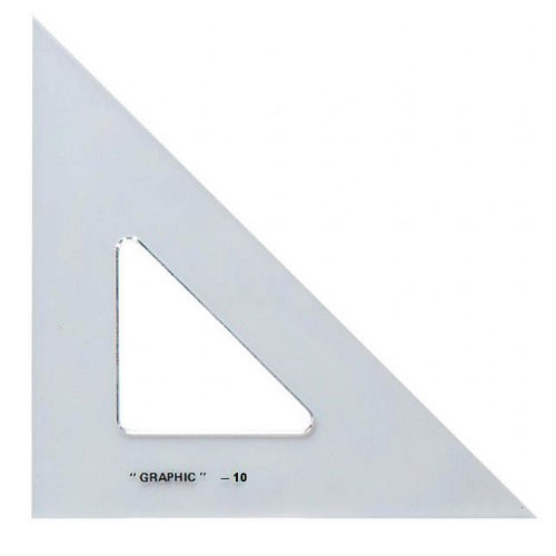 "Alvin S1450-10 - 10"" Academic Transparent Triangle - 45/90 Degree"