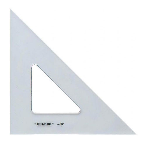 "Alvin S1450-12 - 12"" Academic Transparent Triangle - 45/90 Degree"