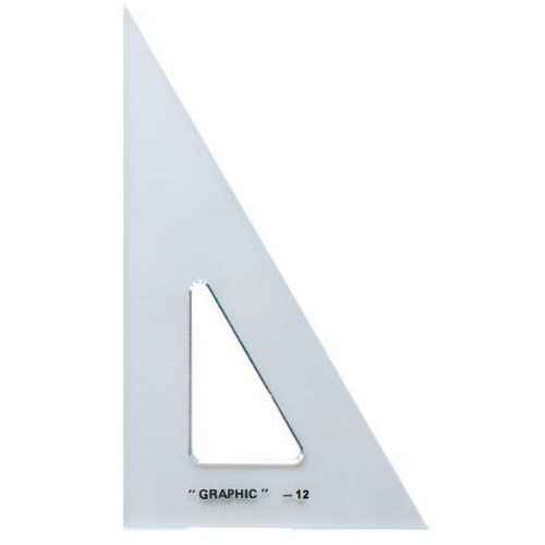 Alvin S1390-12 -12 Academic Transparent Triangle - 30/60 Degree
