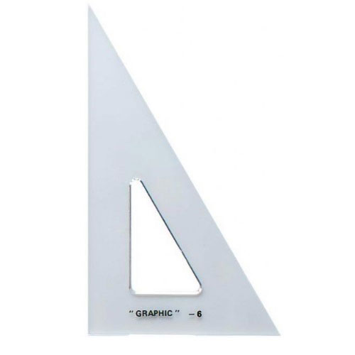 "Alvin S1390-6 - 6"" Academic Transparent Triangle - 30/60 Degree"