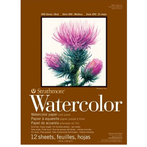 "Strathmore ST298-103 - 400 Series 5 1/2"" x 8 1/2"" Cold Press Watercolor Pad - Tape Bound"