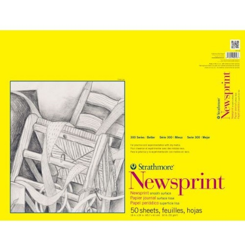 "Strathmore ST307-18 - 300 Series 18"" x 24"" Smooth Newsprint Pad - Tape Bound"