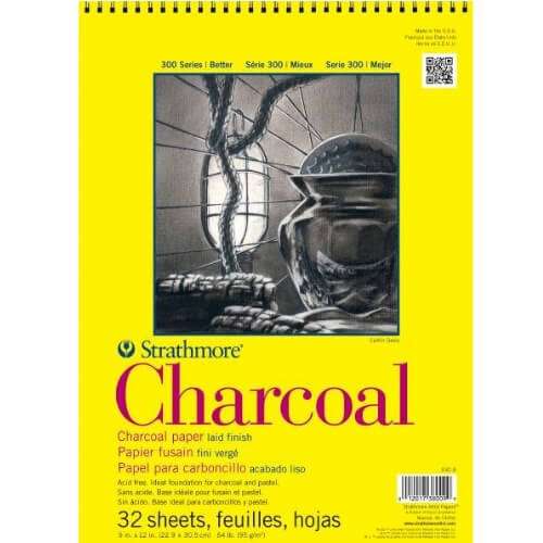 "Strathmore ST330-9 - 300 Series 9"" x 12"" White Charcoal Pad - Wire Bound"