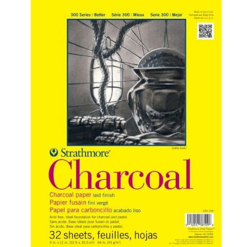 "Strathmore ST330-109 - 300 Series 9"" x 12"" White Charcoal Pad - Glue Bound"