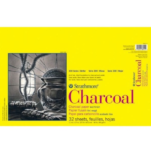 "Strathmore ST330-111 - 300 Series 11"" x 17"" White Charcoal Pad - Glue Bound"
