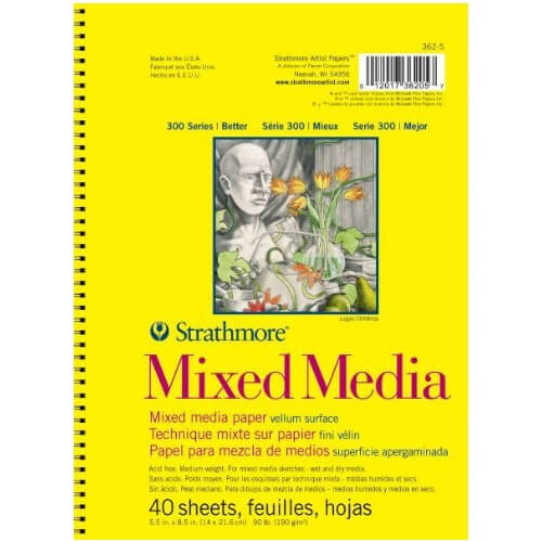 "Strathmore ST362-5 - 300 Series 5 1/2"" x 8 1/2"" Mixed Media Drawing Pad - Wire Bound"
