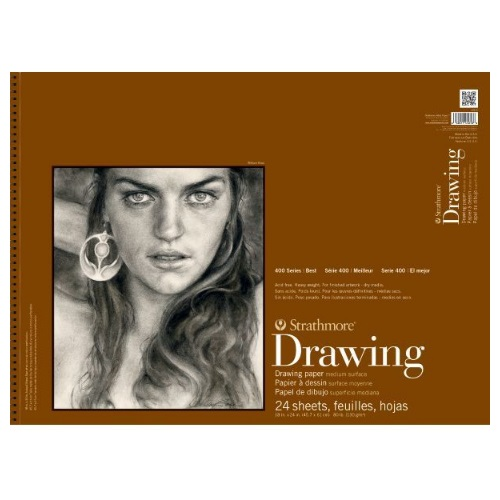 "Strathmore ST400-8 - 400 Series 18"" x 24"" Medium Surface Drawing Pad - Wire Bound"