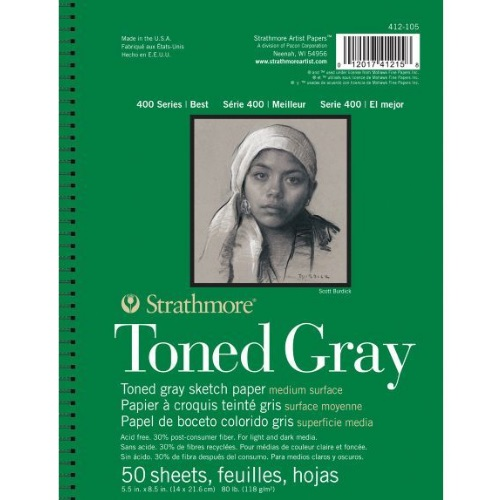 Strathmore ST412-105 - 400 Series 5 1/2 x 8 1/2 Toned Gray Sketch Pad - Wire Bound