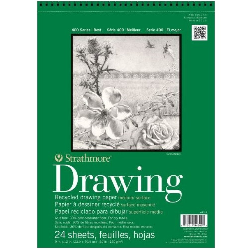 Strathmore ST443-9 - 400 Series 9 x 12 Recycled Drawing Pad - Wire Bound
