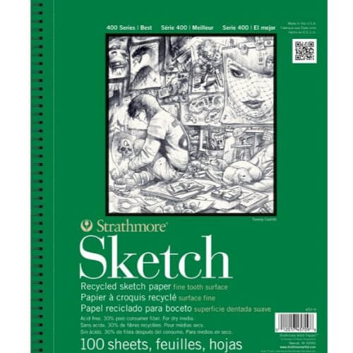 Strathmore ST457-5 - 400 Series 5 1/2 x 8 1/2 Recycled Sketch Pad - Wire Bound