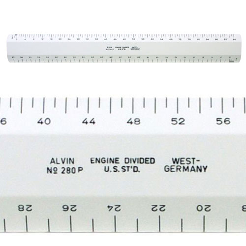 Alvin 280P - 280 Series 12 White Plastic Flat Architect Scale