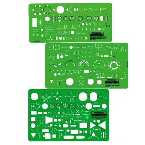 Alvin 300R - Rapidesign Electrical/Electronic Template (3 Pack)