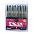 Alvin 30068 - .25mm Pigma Micron Fine Line Design Pen - 8 Color Pack ES8893