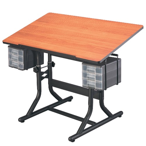 "Alvin 24"" x 40"" CraftMaster Hobby Table - Black Base with Cherry Woodgrain Top - CM40-3-WBR"