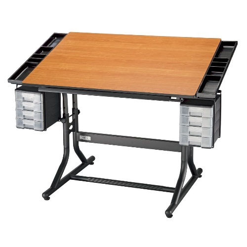 "Alvin 28"" x 40"" CraftMaster II Deluxe Hobby Table - Black Base with Cherry Woodgrain Top - CM48-3-WBR"