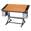 "Alvin 28"" x 40"" CraftMaster II Deluxe Hobby Table - Black Base with Cherry Woodgrain Top - CM48-3-WBR ES8933"