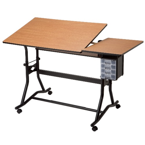Alvin CraftMaster III Split-Top Drafting Table - Black Base with Cherry Woodgrain Top - CM60-3-WBR