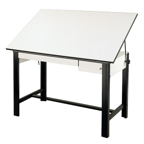"Alvin DesignMaster Table - Black Base with 37.5"" x 60"" White Top - 2 Drawers - DM60CT-BK"