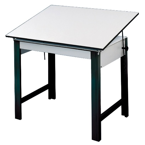 "Alvin DesignMaster Table - Black Base with 37.5"" x 60"" White Top - DM60ND-BK"
