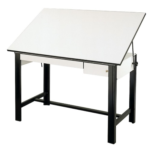 "Alvin DesignMaster Table - Black Base with 37.5"" x 72"" White Top - 2 Drawers - DM72CT-BK"