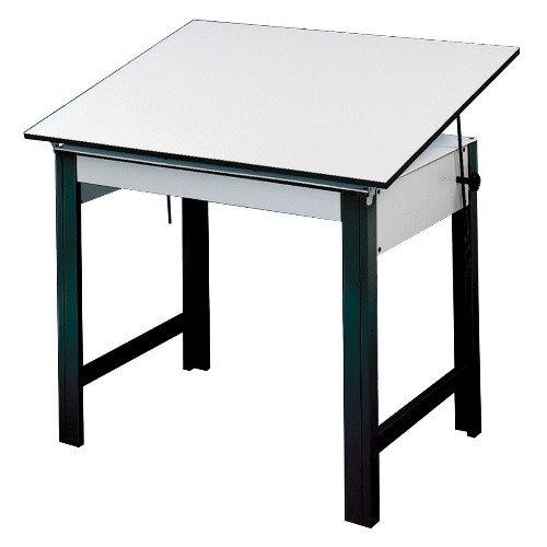 "Alvin DesignMaster Table - Black Base with 37.5"" x 72"" White Top - DM72ND-BK"