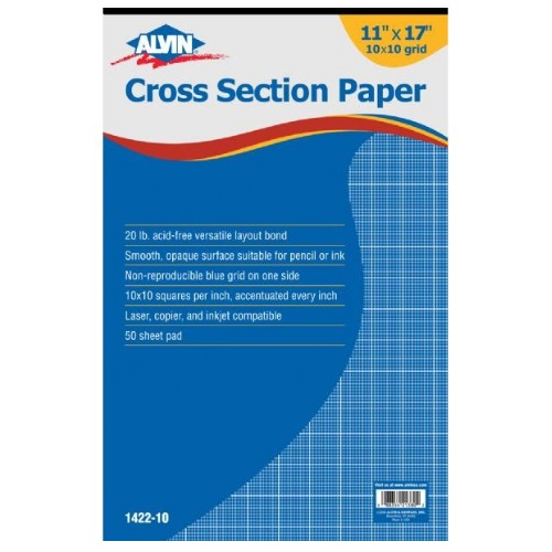 "Alvin 1422-10 - 11"" x 17"" Cross Section Paper with 10"" x 10: Grid - 50 Sheet Pad"