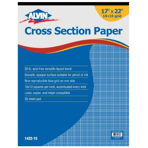 Alvin 1422-15 - 17 x 22 Cross Section Paper with 10 x 10 Grid - 50 Sheet Pad