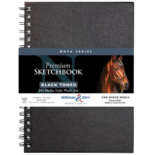 Stillman and Birn Nova Series 7 x 10 Black Wire Bound Sketchbook - SBW593710