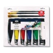 Royal and Langnickel Essentials 120ml Acrylic Paint Set with Brushes - RACR120-6B ES9163