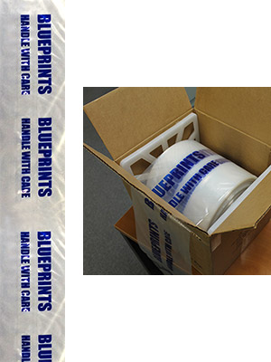 "8"" x 44"" Plastic Blueprint Storage Bags with Dispenser BB.2.C.08.44 (Roll of 270 Bags)"