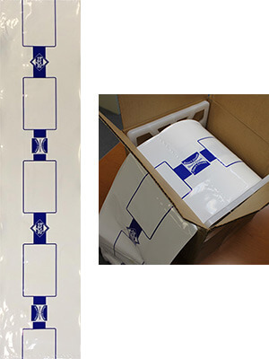 "10"" x 44"" Plastic Blueprint Shipping Bags with Dispenser BB.4.C.10.44 (Roll of 135 Bags)"