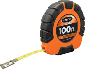 Keson 100' Steel Blade Measuring Tape with Speed Rewind