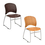 Safco Reve Guest Chair Round Plastic Wood Back (Qty. 2) - (2 Colors Available) ET11605