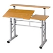 Safco Height Adjustable Split Level Drafting Table 3965MO (Medium Oak) ES2036