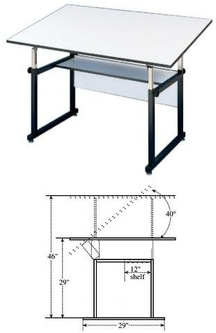 Alvin WorkMaster Drafting Table with 37.5x60 Top - Model WM60-3-XB