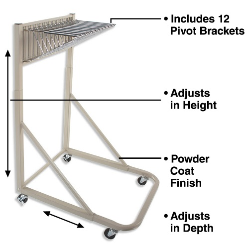 Brookside Design Premium Rolling Blueprint Stand MR1230 Bundle (includes Dozen 30 Clamps) ES2852