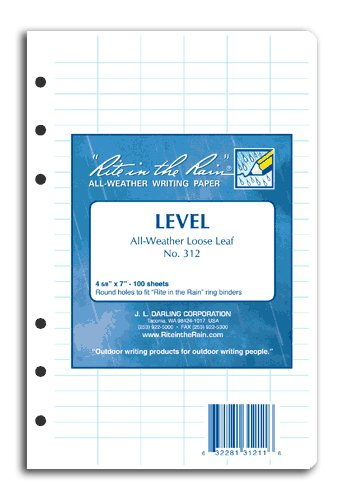 Rite-in-the-Rain All-Weather Level Pattern Loose Leaf Sheets (100 Sheet Pack) 9092-02