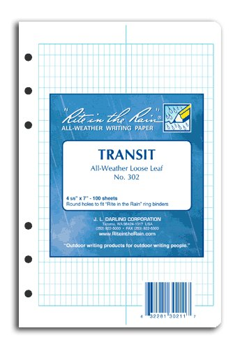 Rite-in-the-Rain All-Weather Transit Pattern Loose Leaf Sheets (100 Sheet Pack) 9092-01